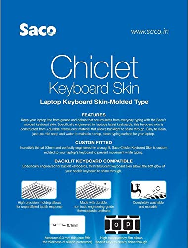 """Saco Keyboard Protector Silicone Skin Cover for Asus VivoBook S15 (S510UA-DS71) 15.6"""" Full HD Laptop - Transparent"""