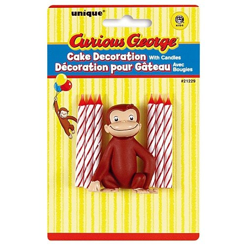 Curious George Cake Decoration - Curious George Cake Topper & Birthday Candle Set