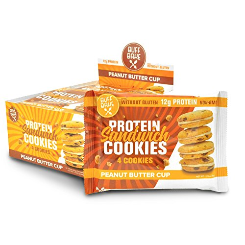 Buff Bake Protein Sandwhich Cookies Box of 8 -1.79oz (Peanut Butter Cup)