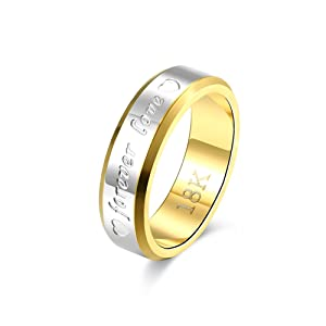 Mens Titanium Steel Forever Love Engraved Wedding Engagement Ring Band Silver Gold (7)