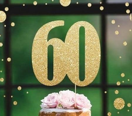 Decoración para tarta de 60 cumpleaños con purpurina dorada ...