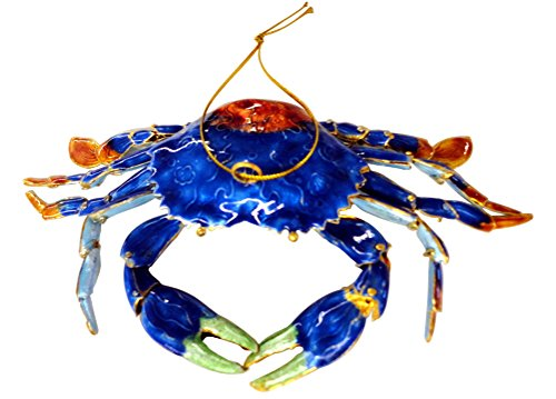 Cloisonne Articulated Blue Crab Christmas - Christmas Cloisonne Tree