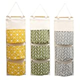 Handfly Cotton Linen Wall Door Closet Hanging Storage Bag 3 Pockets Over the Door Organizer for Bedroom & Bathroom (3packs)