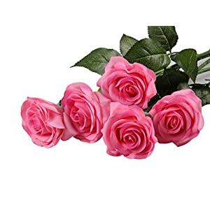 Sealike 5 Pcs Latex Real Touch Artificial Rose Flower Wedding Bouquet Flower Bouquets with Stylus Hot Pink 118