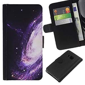 KingStore / Leather Etui en cuir / HTC One M9 / Camino púrpura Espacio Universo Cosmos