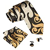 Hi-Tie Dark Brown Gold Designer Necktie Set Woven