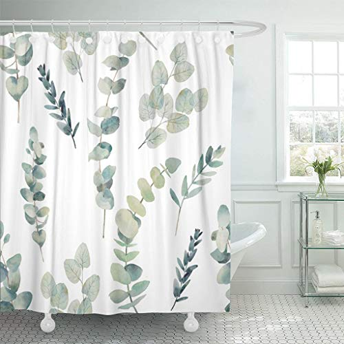 (Emvency Fabric Shower Curtain with Hooks Green Leaf Watercolor Eucalyptus Branches Hand Floral with Plant on White Natural Twig 72