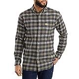 Carhartt Men's Rugged Flex Hamilton Plaid Flannel Shirt (Regular and Big & Tall Sizes), Greige, Small