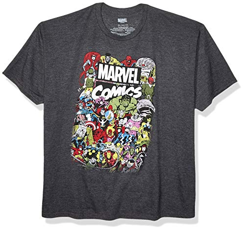 Marvel Men's Comics Crew T-Shirt, Charcoal Heather, XX-Large ()