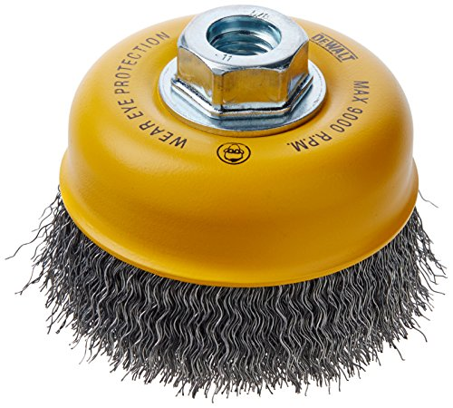 Carbon Crimped Wire - DEWALT DW49101 4-Inch by 5/8-Inch-11 HP .014 Carbon Crimp Wire Cup Brush