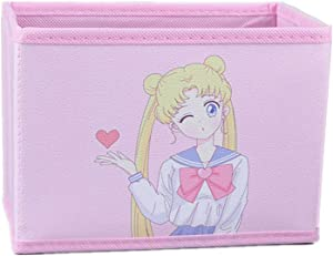 Cartoon Storage Box, Cute Japan Anime Sailor Moon Tsukino Usagi Model Figure Desktop Storage Box Case Makeup Holder Organizer for Kids Girls Gift (Wink)