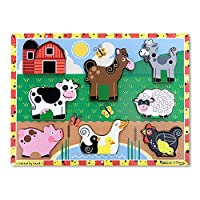 "Melissa & Doug Farm Chunky Puzzle, Preescolar, Chunky piezas de madera, fotos a todo color, 8 piezas, 1 ""H x 9"" W x 12 ""L"