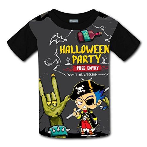 Halloween Pirate Coustom Kids Soft T-Shirt Black Short Sleeve Tee Shirts Tops for Boys (Halloween Coustoms)