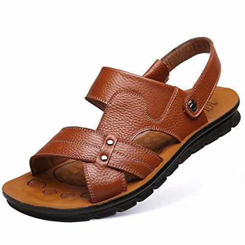 Sommer Männer Sandalen Echtleder Große Größe Strand Schuh Männer Freizeit Leder Sandalen Trend ,Gelb1,US=8,UK=7.5,EU=41 1/3,CN=42