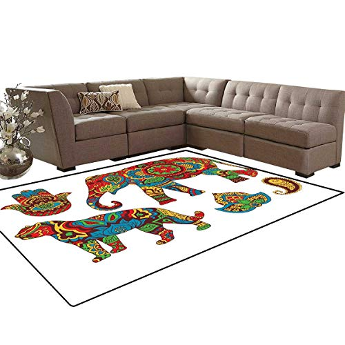 - Hamsa Anti-Skid Area Rugs African Savannah Animals Paisley and Hamsa Hand Pattern with Orient Ornate Malaysian Customize Door mats for Home Mat 6'x8' Multicolor