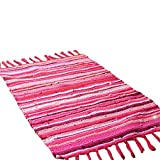 Fashion Area Rugs Mediterranean Style Cotton Kitchen Oblong Shape Multi-Usage (Red, Size:50x80cm)