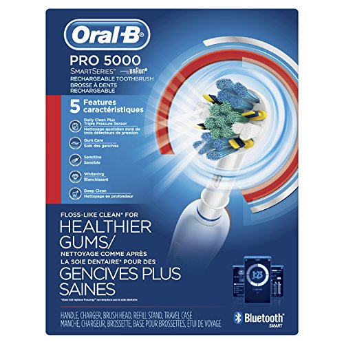 Oral-B Pro 5000 SmartSeries Power Rechargeable Electric Toothbrush with Bluetooth Connectivity Powered by Braun
