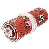 36 Holes Canvas Wrap Roll-up Pencil Case Pen Bag Storage Pouch Cow Print Red