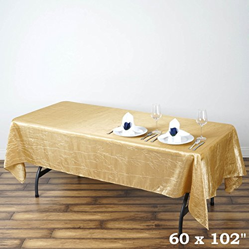 BalsaCircle 60x102-Inch Champagne Rectangle Crinkled Taffeta Tablecloth Table Cover Linens for Wedding Party Kitchen Dining -