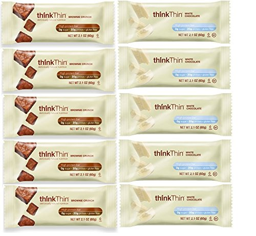 ThinkThin Bundle (Pack of 10)- 2 Flavors: White Chocolate and Brownie Crunch