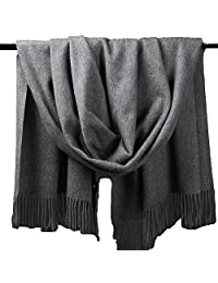 ZHHBeaty Fashion Pure Color Warm Wool Silk Soft Unisex Cashmere Blanket Scarf Women Solid Color Long Winter Stole Cashmere Wrap Shawl Scarf for Anniversary Birthday Wedding Christmas Gifts (Dark Grey)