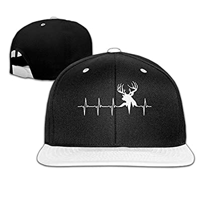 AJHGD Hunting Deer Heartbeat Unisex Hip Hop Flat Bill Snapback Caps Plain Cotton Baseball Cap for Women