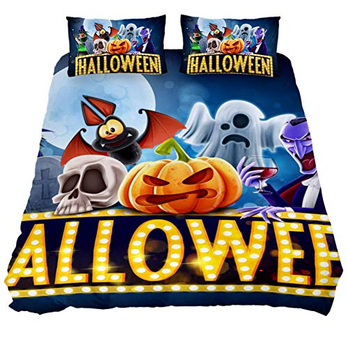 LORVIES Halloween Charaters Duvet Cover Sets Decorative 3 Piece Bedding Sets with Pillow Shams for Men Women Boys Girls Kids Teens -