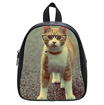 Funny Yellow White Cat With Glasses Amazing Wallpaper Backpack Kids School Bag Small