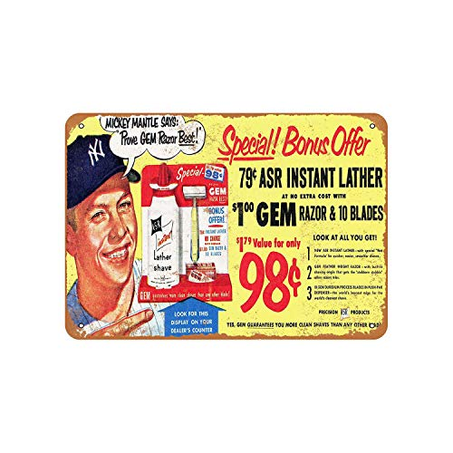 Fhdang Decor 1953 Mickey Mantle for GEM Razors Vintage Look Metal Sign Aluminum Sign,6x9 Inches