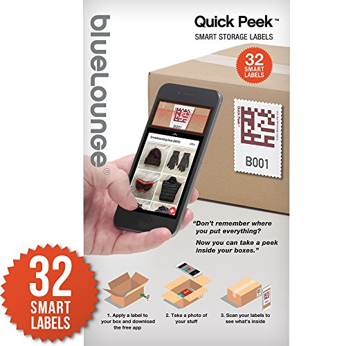 [Quick Peek] Storage Containers Smart Label System / Like Having X-Ray Vision for Your Storage Bins - iPhone App plus Stickers for Moving, Shoe Boxes - Organize for Office, Home, Business - 32 Labels