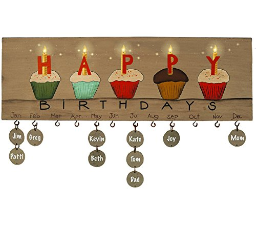 Wooden Birthday Calendar Wall Hanging Plaque with Blank Tags - Family and Friend Happy Birthdays Wall Sign by Orchid & Ivy]()