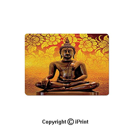 Thick 3mm Gaming Mouse Pad Antique Sculpture Sitting on Floor Floral Background Asian Oriental Pure Calm Home Personality Design Non Slip Rubber Mouse Mat,7.1x8.7 inch,Orange Bronze