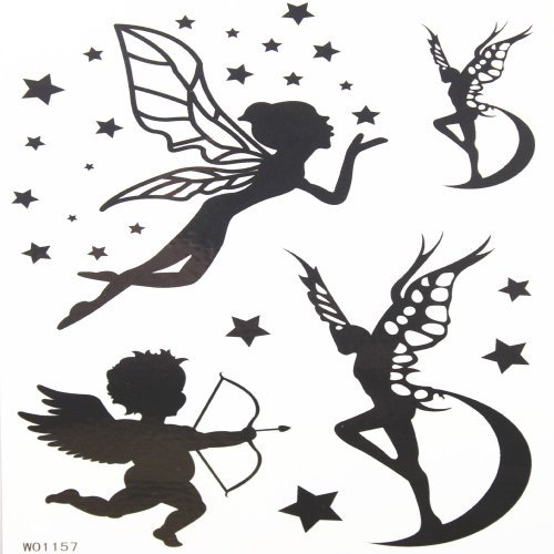 Baby angel and butterfly angel temporary tattoos with star and moon by King Horse