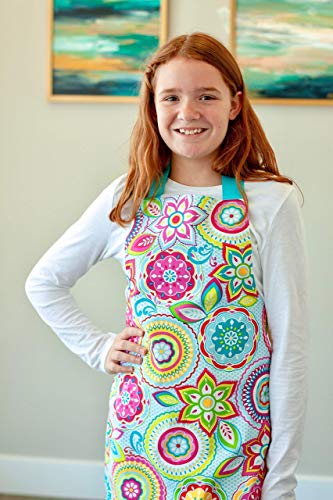 Colorful Aqua Handmade Baking Art or Craft Apron Gift for Tween Girl