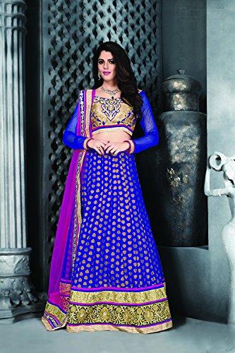 Da Facioun Concepteur Indien Partywear Lehenga Ethniques De Mariage Traditionnel Choli Bleu 5