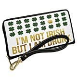 Wallet Clutch I'm Not Irish But I Am Drunk St. Patrick's Day Gold Shamrock with Removable Wristlet Strap Neonblond