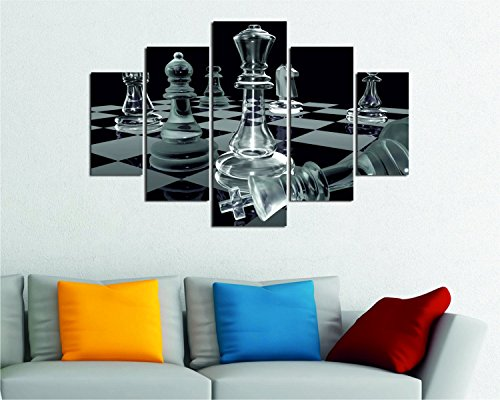 LaModaHome Winner MDF Wall Art - King Has Fallen with Strategy, Checkmate Chess Game - Ready to Hang Painting, Total Size (36