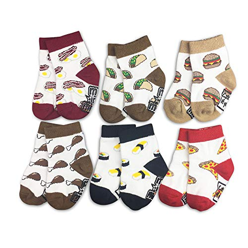 Baby Socks 6-Pair Gift Set -Let's Eat- Pizza Bacon Sushi Boys Girls Shower 0-3 3-6 6-12 12-18 12-24