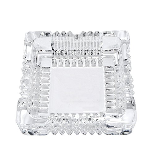 (YXQ 6 inch Glass Ashtray Square Crystal Heavy Smoke for Cigar Cigarettes Collectible Holder Tribal Tabletop Tray Outdoor Outside Home Decoration)