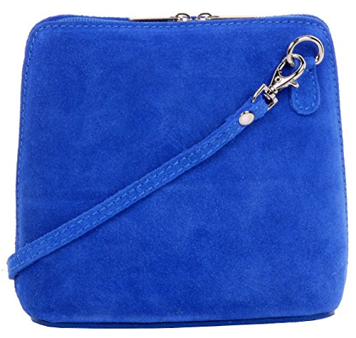 Primo Sacchi Italian Suede Leather Small/Micro Royal Blue Shoulder Bag Handbag
