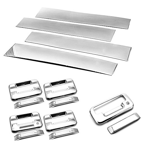 Sizver Polished Stainless Steel Pillar Posts + Handle + Tailgate without Camera hole Covers For 2004-2014 F-150 ^SuperCrew Cab^