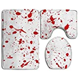 GNZYQ Abstract Ink Background Marble Style Red 3 Piece Bathroom Rug Set,Flange Blanket FaceBathroom Shower Mat The Bath Carpet Toilet Seat Assembly