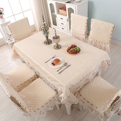 WAN SAN QIAN- European-Style Table-Cloth Chair Covers Cushions Set,Thickened Cloth Lace Table Cloth Dining Chair Covers Home Decoration Tablecloth (Color : A, Size : 6 seat Cushions and backrest)