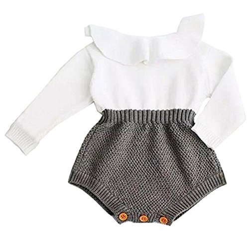 Eiffel Direct Baby Girls Sweet Knitted Fleece Romper Long Sleeve Ruffles Jumpsuits Sweaters Dress (66/0-3 Months, Grey)