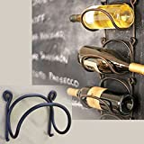 Wrought Iron Wine Bottle Rack Modular Wall Mounted Black Premium Quality 8.5mm Thick Iron
