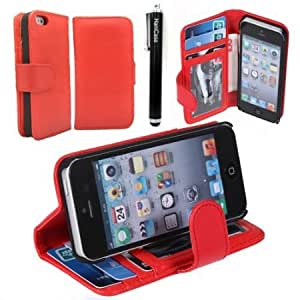 Quaroth Hanicase Wallet Leather Case Credit ID Card slot Holder Cover Pouch For iPhone 5S 5G Red With Hanicase Design...