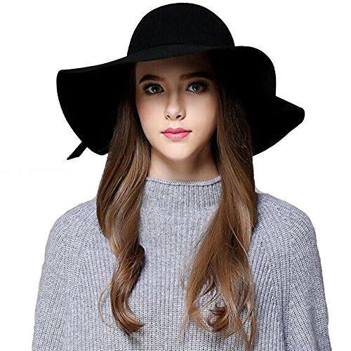 ZZCC Women Wide Brim Beach Hat Vintage Bowknot Felt (Felt Hat Design)