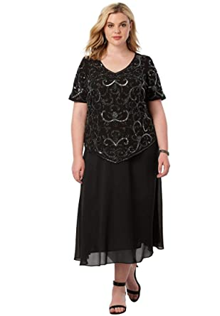 1b90a4c6cfc1f Roamans Women s Plus Size Sequin Beaded Top at Amazon Women s ...