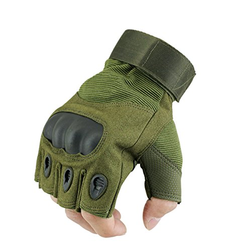 Lovidea Tactics Gloves Military Fingerless Hard Knuckle,Green Tranning Gloves for Man and Women Fit for Cycling Motorcycle Hiking Camping Powersports Airsoft Paintball