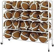 Basketball Racks for Balls with Wheels, Iron Basketball Display Stand, Ball Cart Ball Racks for Garage Ball Ho